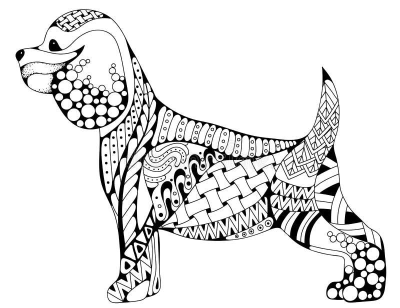Zentangle stiliserade tecknad filmcockerspanielhunden som isolerades på vit royaltyfri illustrationer