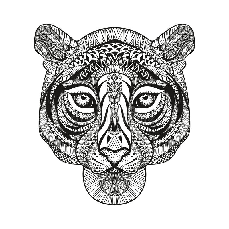 Zentangle stiliserade tigerframsidan Hand dragen klottervektor vektor illustrationer