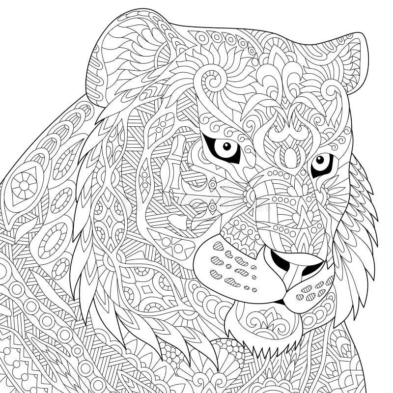 Zentangle stiliserade tigern royaltyfri illustrationer