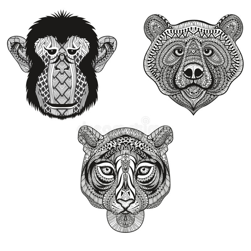 Zentangle stiliserade tigern, apan, björnframsidor Räcka det utdragna klottret vektor illustrationer
