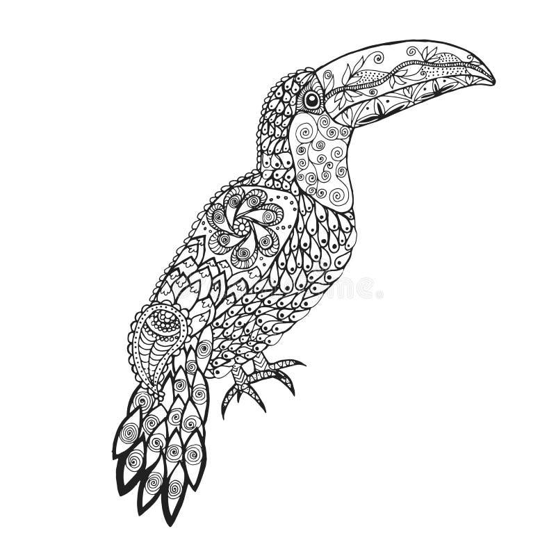 Zentangle stiliserade tukan vektor illustrationer