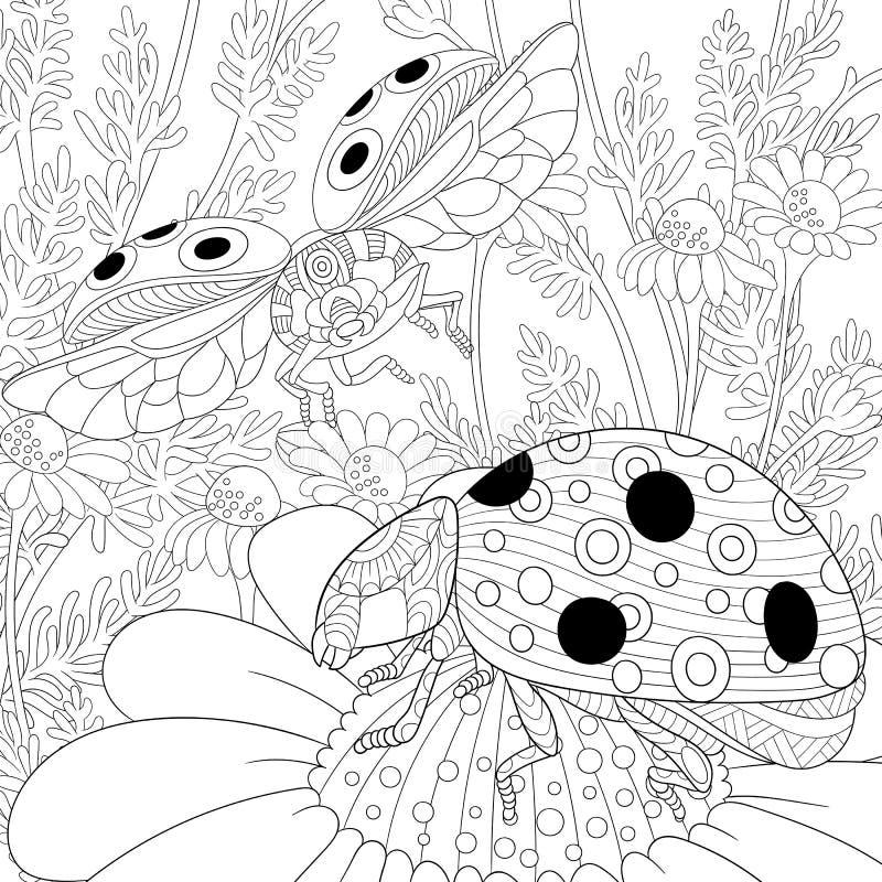 Zentangle stiliserade två nyckelpigor royaltyfri illustrationer