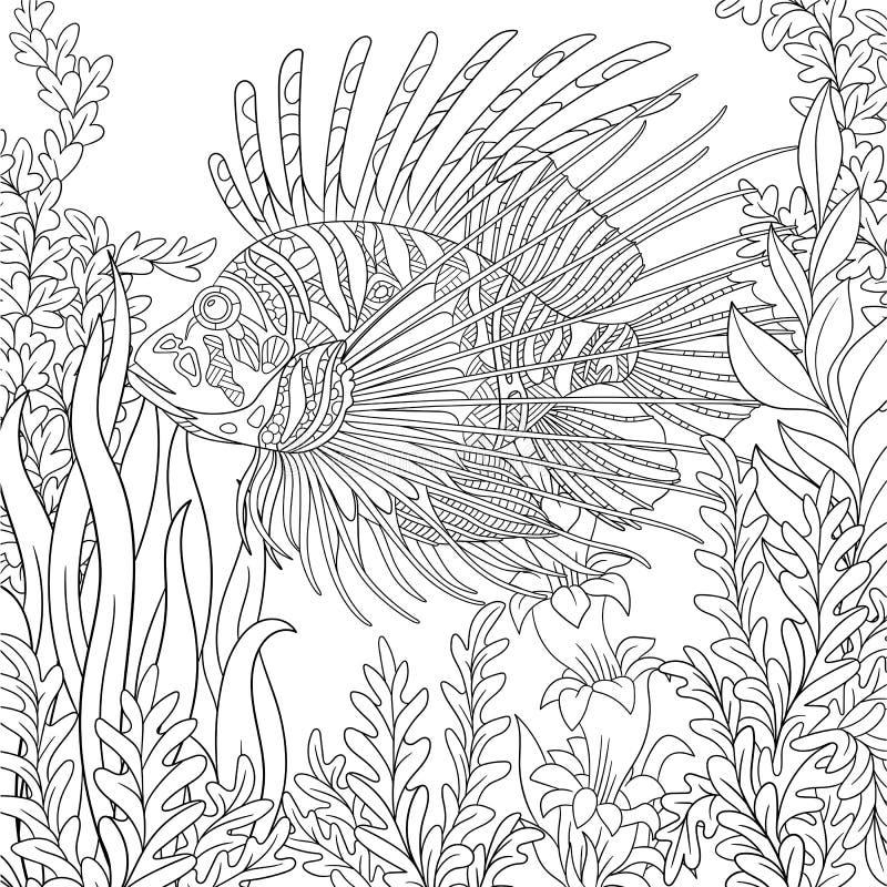 Zentangle stiliserade zebrafish (lionfishen) royaltyfri illustrationer