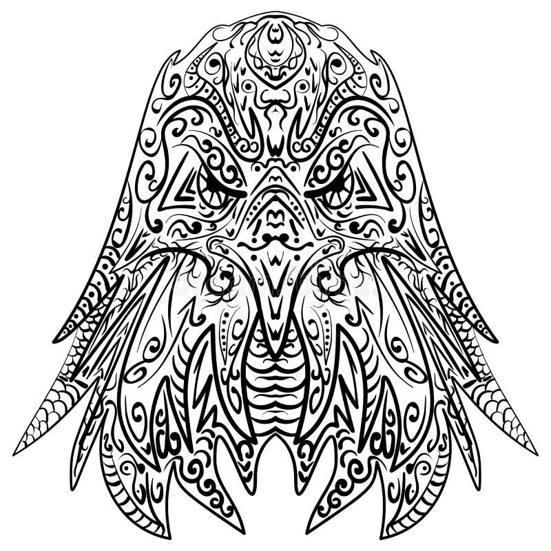 Zentangle stilisierte Adlerhauptvektorillustration vektor abbildung