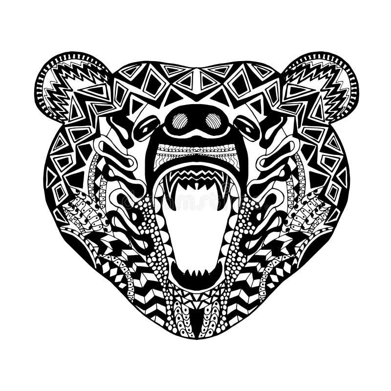 Zentangle stilisierte Bären Skizze für Tätowierung oder T-Shirt lizenzfreie abbildung