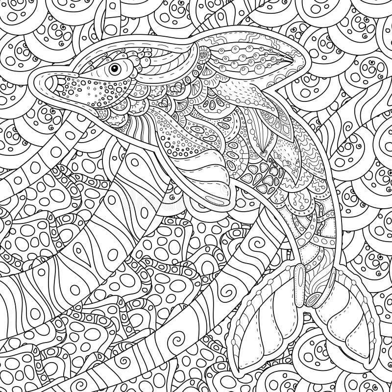 Zentangle Stilisierte Delphin Erwachsene Antidruck Farbton-Seite ...