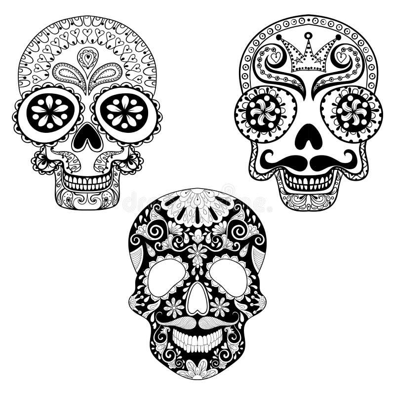 Zentangle Stilisierte Die Kopierten Schädel, Die Für Halloween ...