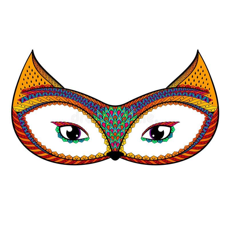 Zentangle stilisierte Farbfuchs Hand gezeichnetes kopiertes Vektor illust vektor abbildung