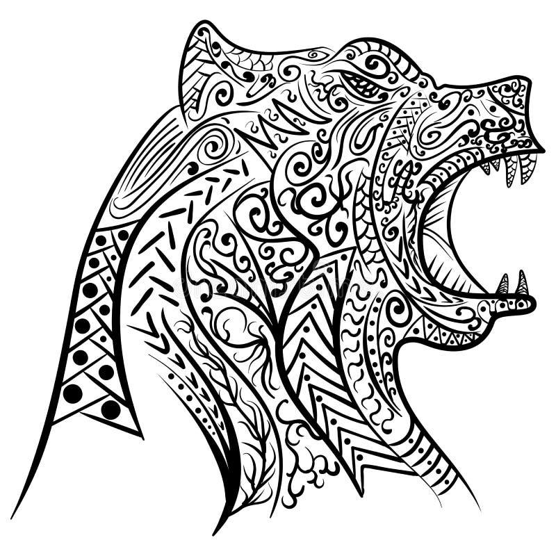Zentangle stilisierte Gekritzelvektor des Bärnkopfes vektor abbildung