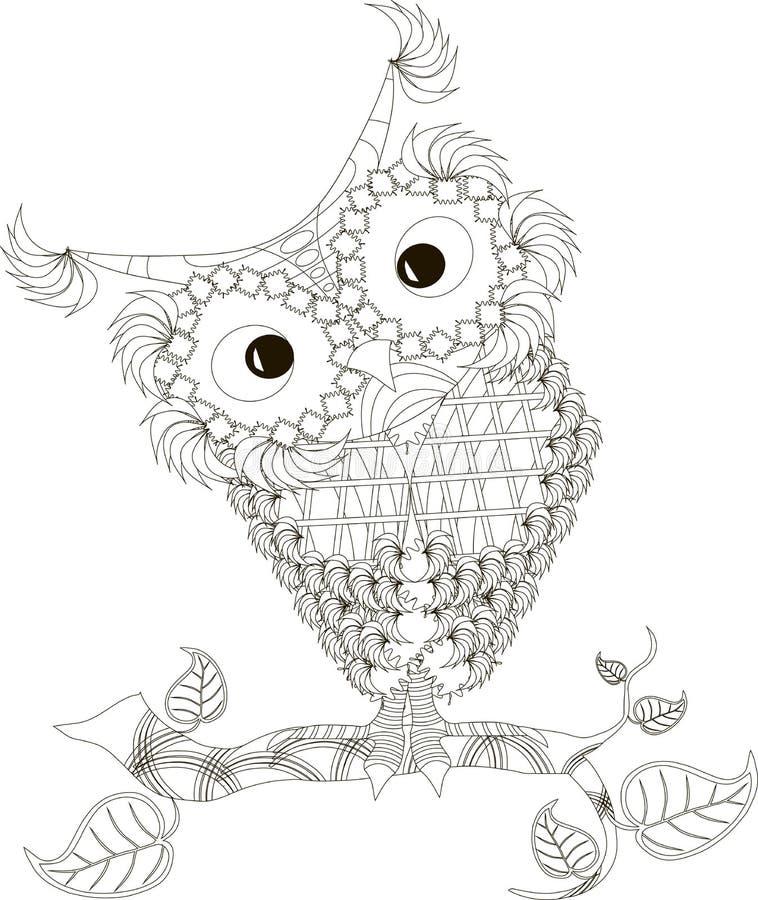 Zentangle stilisierte gezeichnete die Eulenschwarzweiss-Hand, Vektor lizenzfreie abbildung