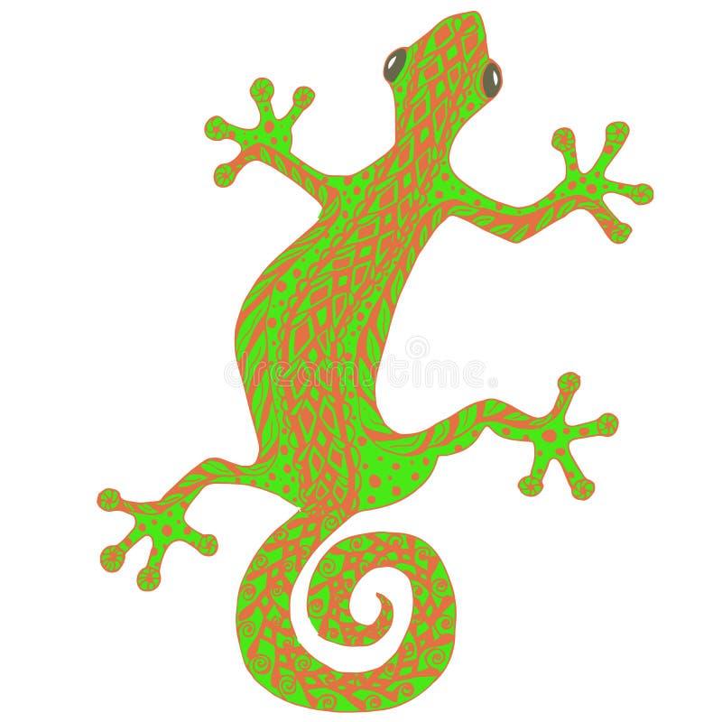 Zentangle stilisierte Hand die gezeichnete Eidechse, die rot ist und die grüne gezeichnete Hand stock abbildung