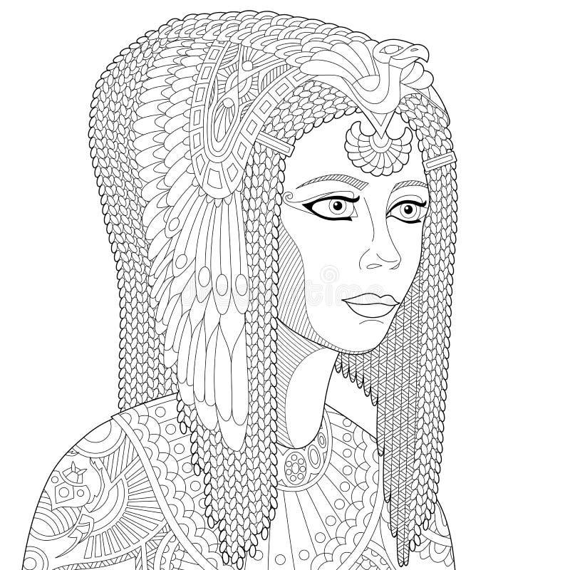 Zentangle stilisierte Königin Kleopatra stock abbildung