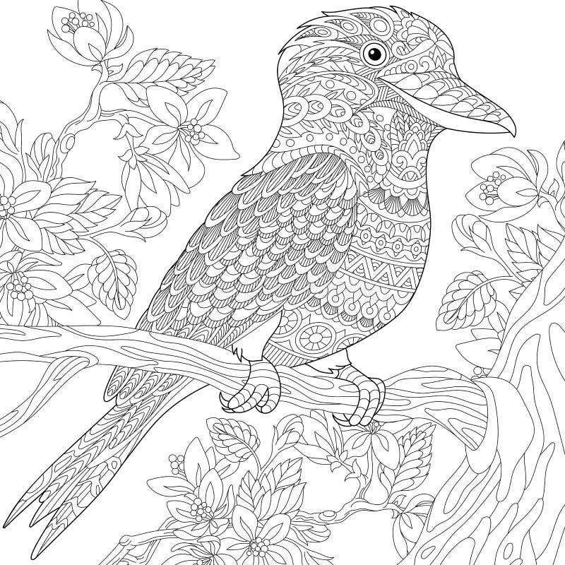 Zentangle stilisierte Lachender Hans-Vogel lizenzfreie abbildung