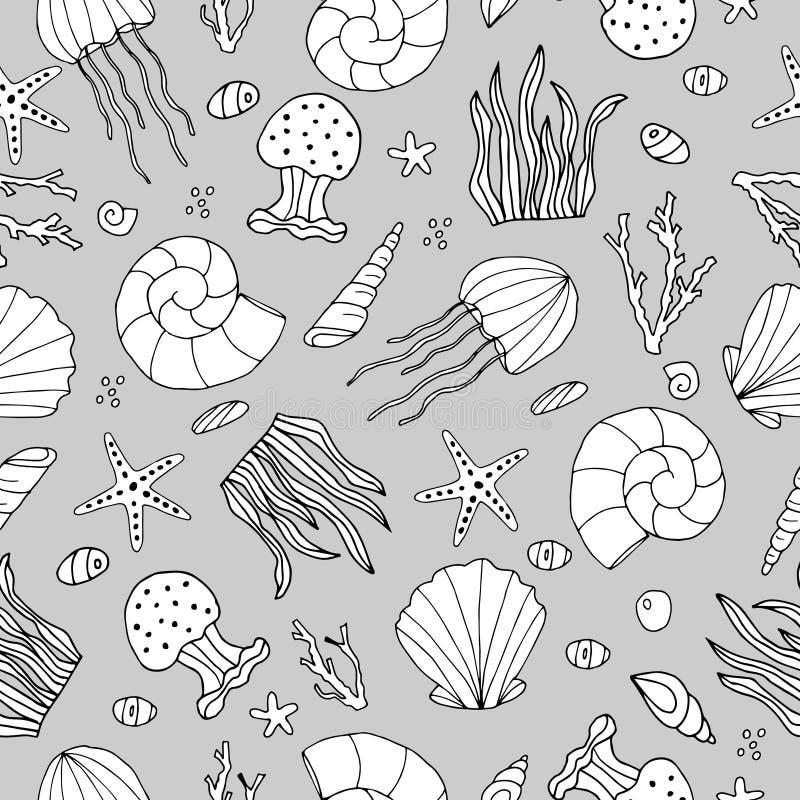 Zentangle stilisierte Muschel und anderes nahtloses Muster der Seeeinwohner Hand gezeichnete Wassergekritzelvektorillustration vektor abbildung