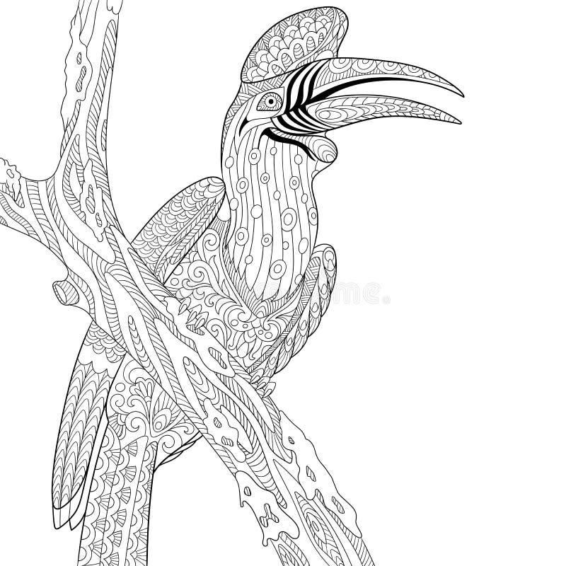 Zentangle stilisierte Nashorn Hornbillvogel (Bucerosnashorn) lizenzfreie abbildung