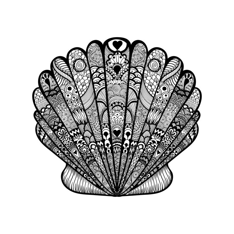 Zentangle stilisierte Oberteil Schwarzen Meers Hand gezeichneter Gekritzelvektor IL lizenzfreie abbildung