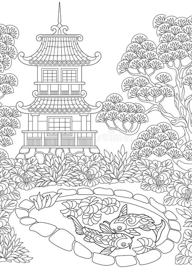 Zentangle stilisierte Pagode stock abbildung