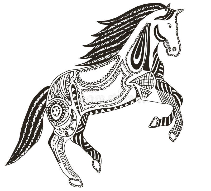 Zentangle stilisierte Pferd, Strudel, Illustration, Vektor, freihändig stock abbildung