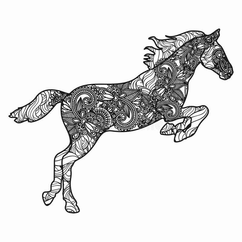 Zentangle stilisierte Pferdeillustration Hand gezeichnete Gekritzelillustration lokalisiert auf weißem Hintergrund vektor abbildung