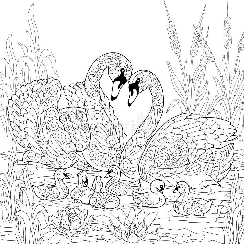 Zentangle stilisierte Schwanvogelfamilie lizenzfreie abbildung