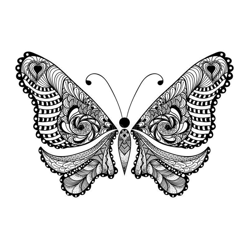 zentangle stilisierte schwarzen schmetterling hand gezeichnet stock abbildung illustration von. Black Bedroom Furniture Sets. Home Design Ideas