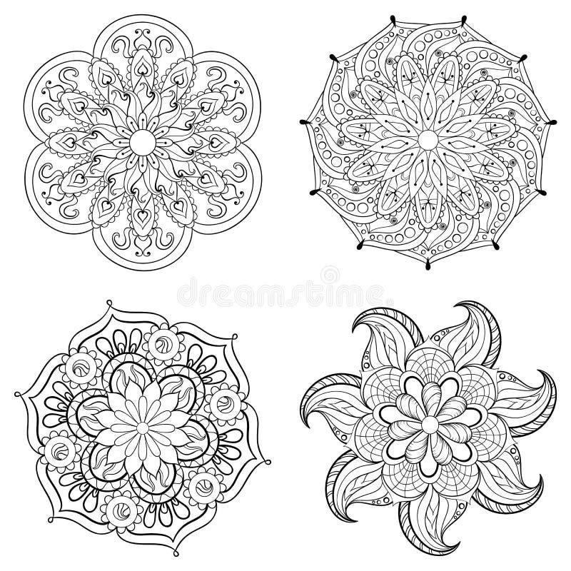 Zentangle stilisierte Stammes- arabischen, indischen Mandalasatz vektor abbildung