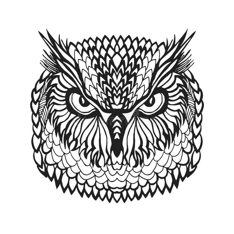 Zentangle stilisierte Uhukopf Stammes- Skizze für Tätowierung oder T-Shirt lizenzfreie abbildung