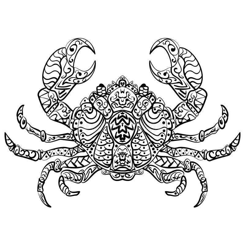 Zentangle stilisierte Vektorillustrationskrabbe vektor abbildung