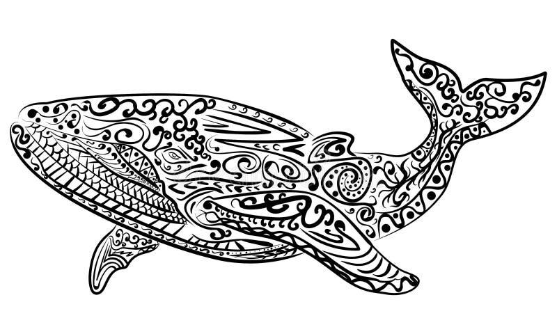 Zentangle stilisierte Walvektorillustration stock abbildung