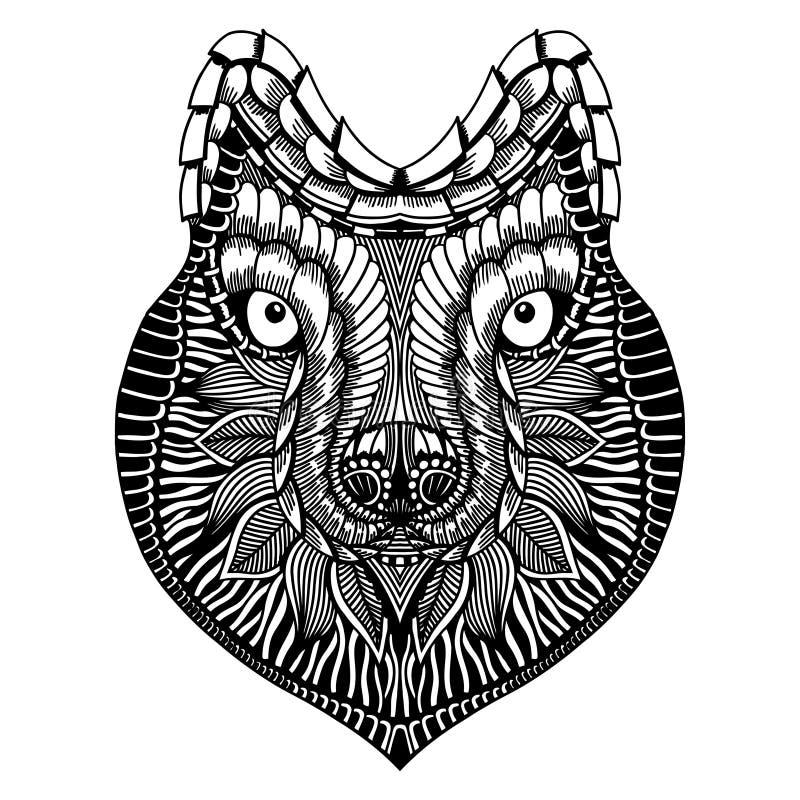 Zentangle stilisierte Wolfgesicht lizenzfreie abbildung