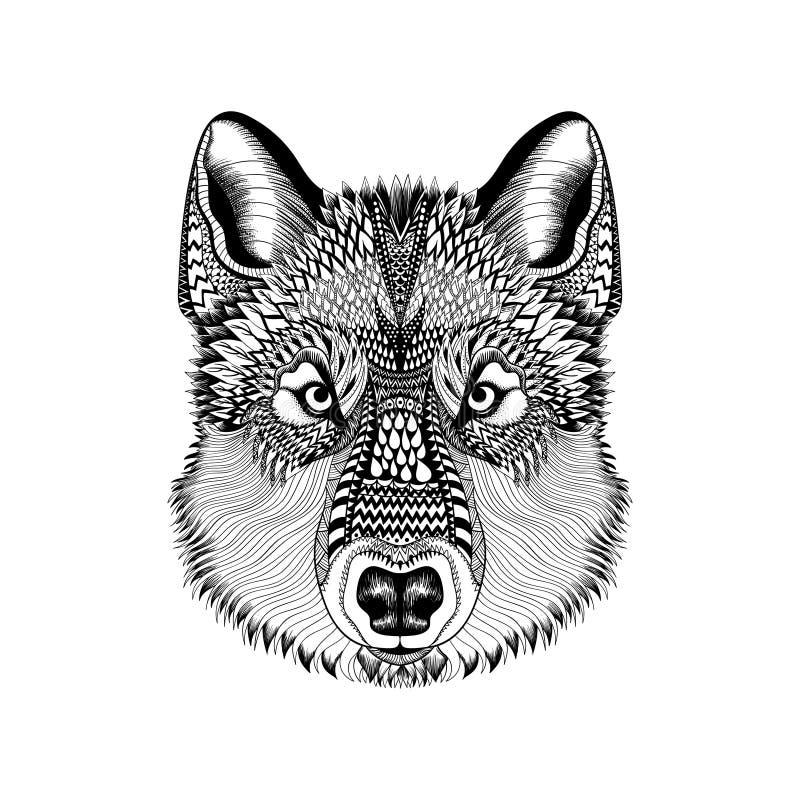 Zentangle stilisierte Wolfgesicht Hand gezeichneter Guata-Gekritzel-Vektorkranke lizenzfreie abbildung