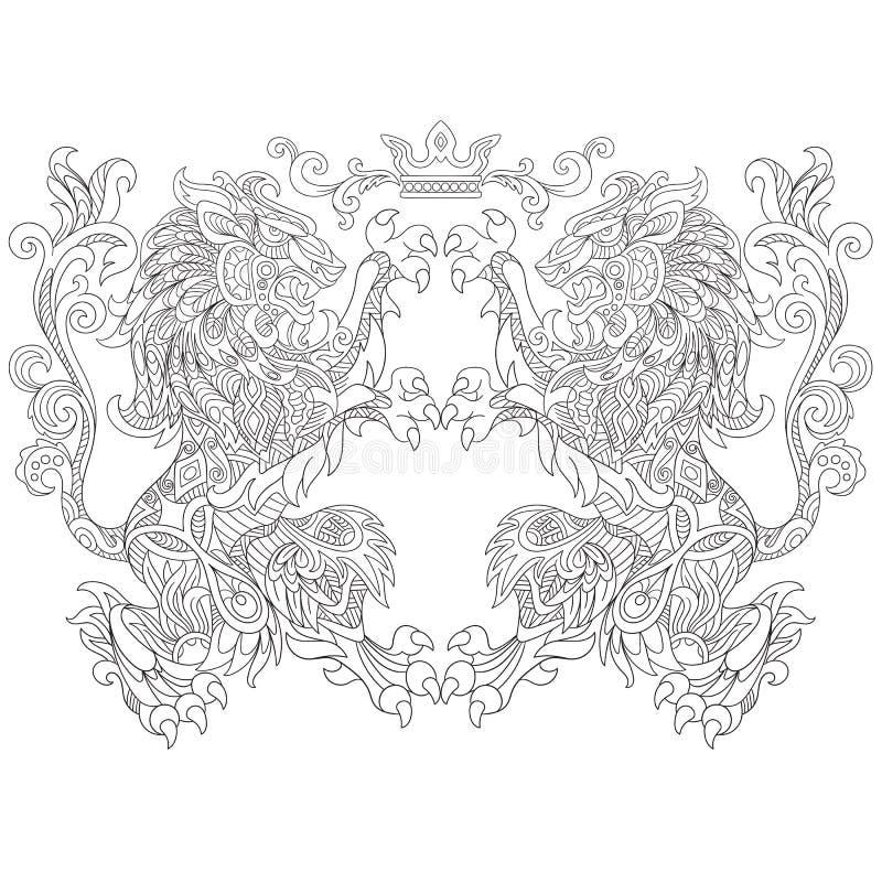 Zentangle stilisierte zwei Löwen mit einer Krone lizenzfreie abbildung