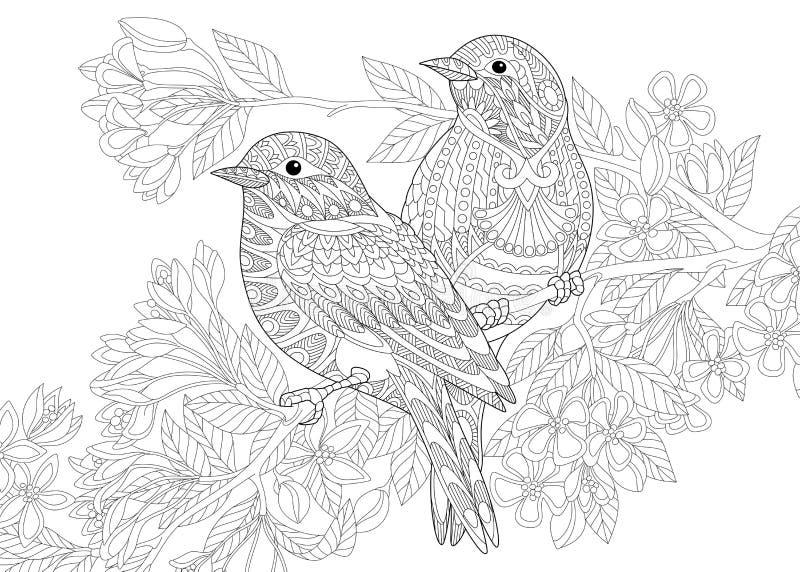 Zentangle stilisierte zwei Vögel vektor abbildung