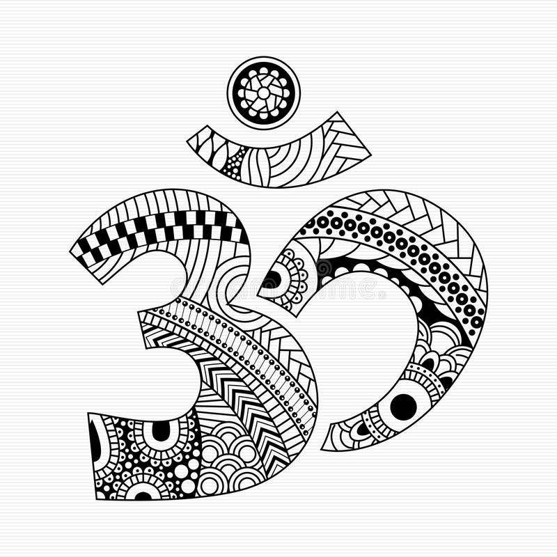 Zentangle style Aum symbol. Zentangle style Om symbol with decorative indian ornament Mehndi for your design royalty free illustration