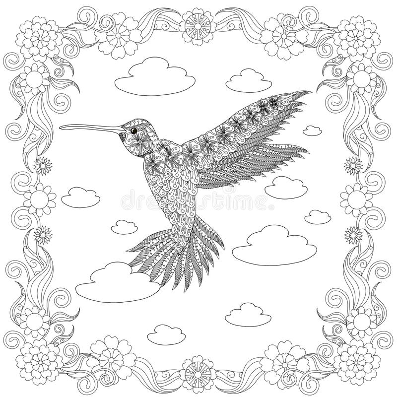 Download Zentangle Style Hummingbird In Flower Frame Monochrome Sketch Coloring Page Antistress Stock Vector Illustration