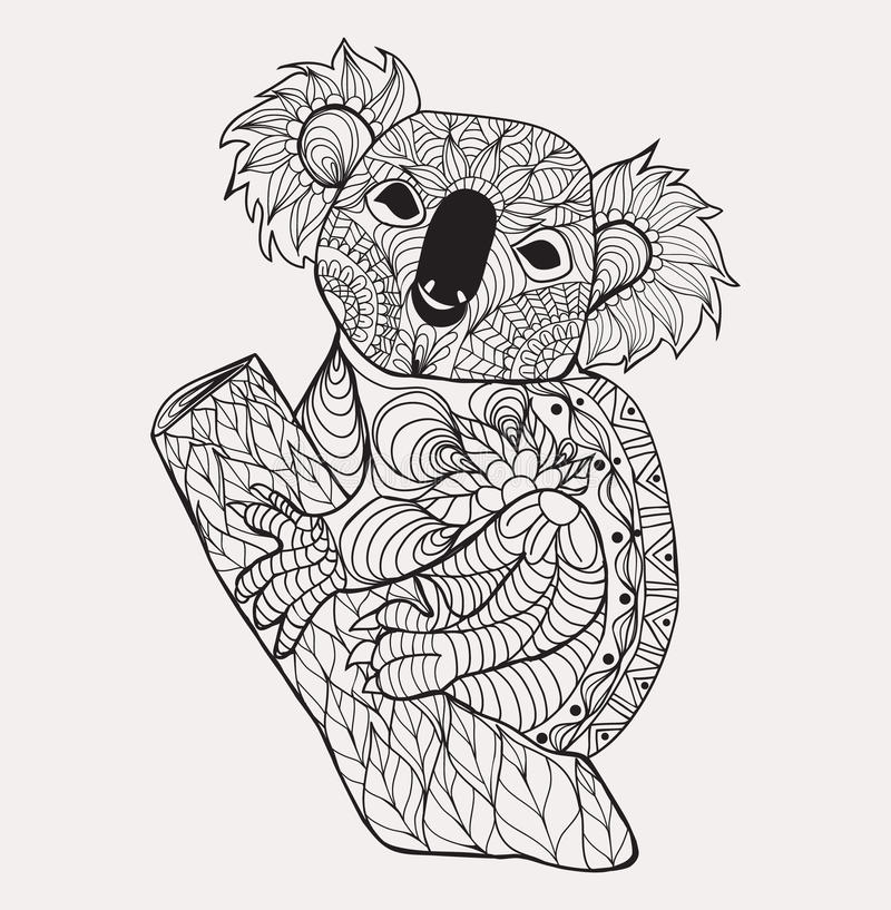 Zentangle style koala black white hand drawn doodle stock for Koala coloring page