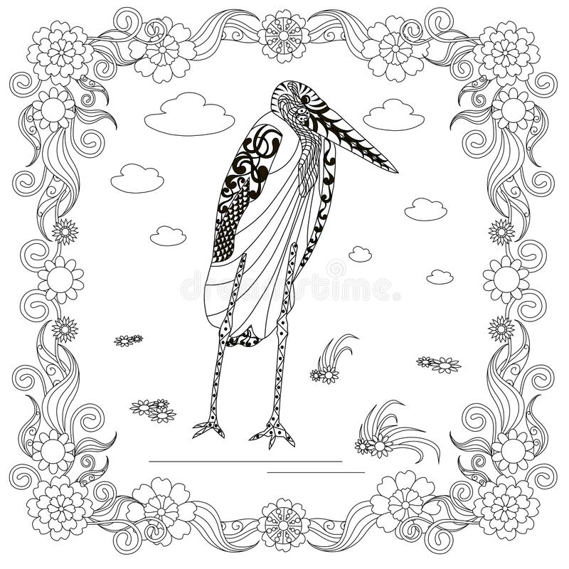 Zentangle style marabou in flower frame monochrome sketch, coloring page antistress stock vector illustration. For print, for coloring page stock illustration