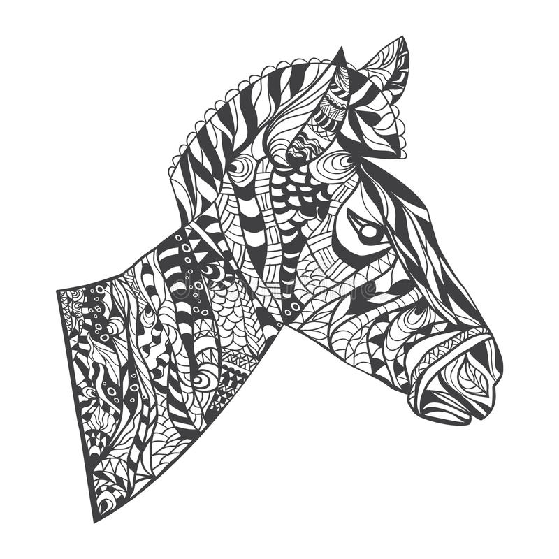 Zentangle Style Zebra Head Illustration Stock Vector ...
