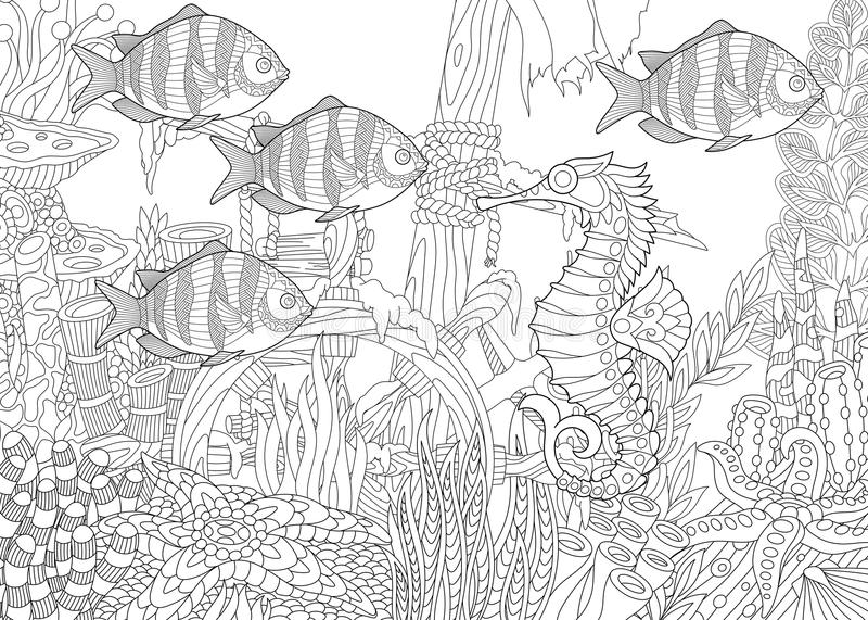 Zentangle a stylisé l'aquarium illustration stock