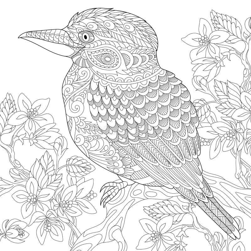Zentangle a stylisé l'oiseau de martin-chasseur illustration de vecteur