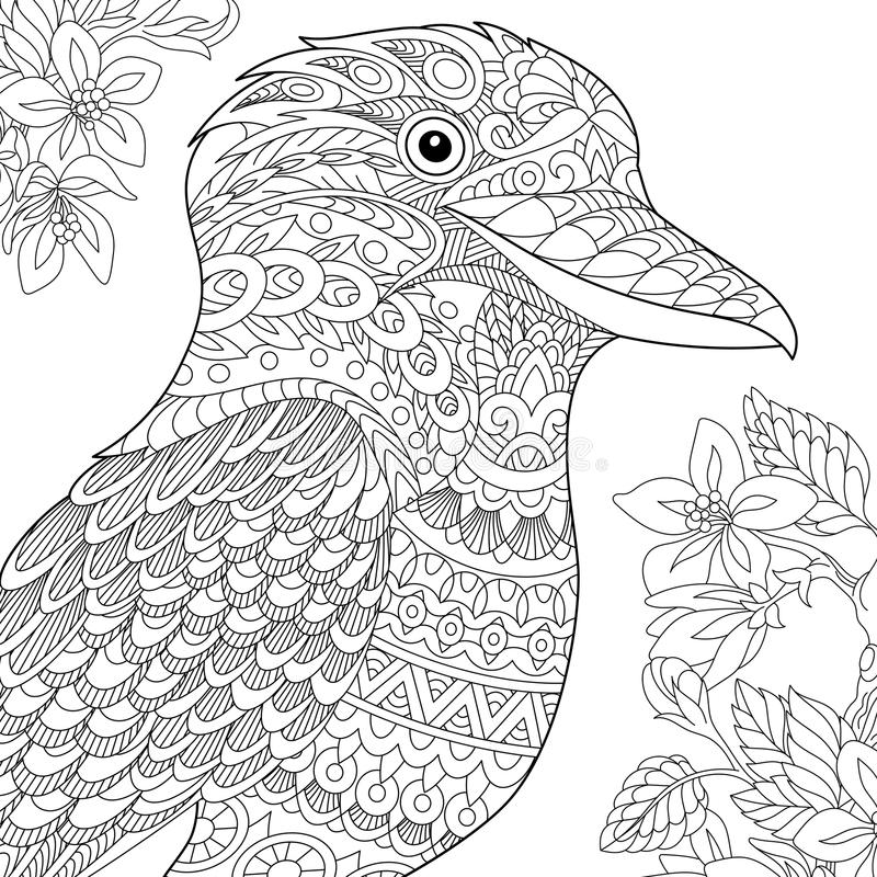 Zentangle a stylisé l'oiseau de martin-chasseur illustration stock