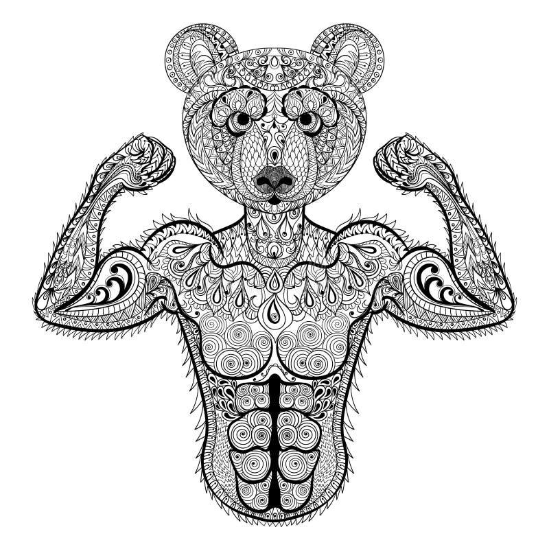 Zentangle a stylisé l'ours fort Illustra tiré par la main de vecteur de sport illustration libre de droits