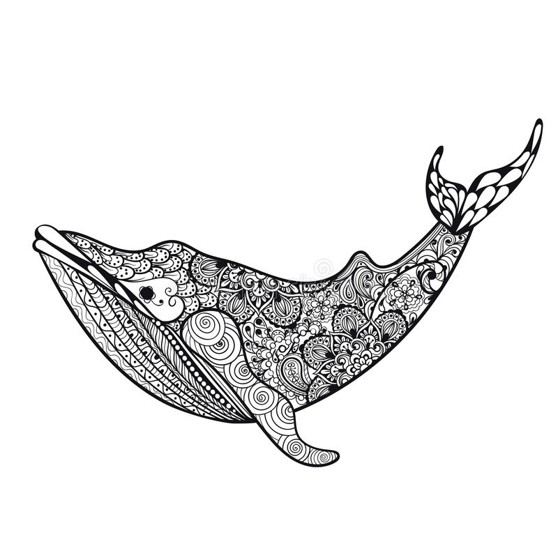 Zentangle a stylisé la baleine de mer OIN tirée par la main d'illustration de vecteur illustration stock