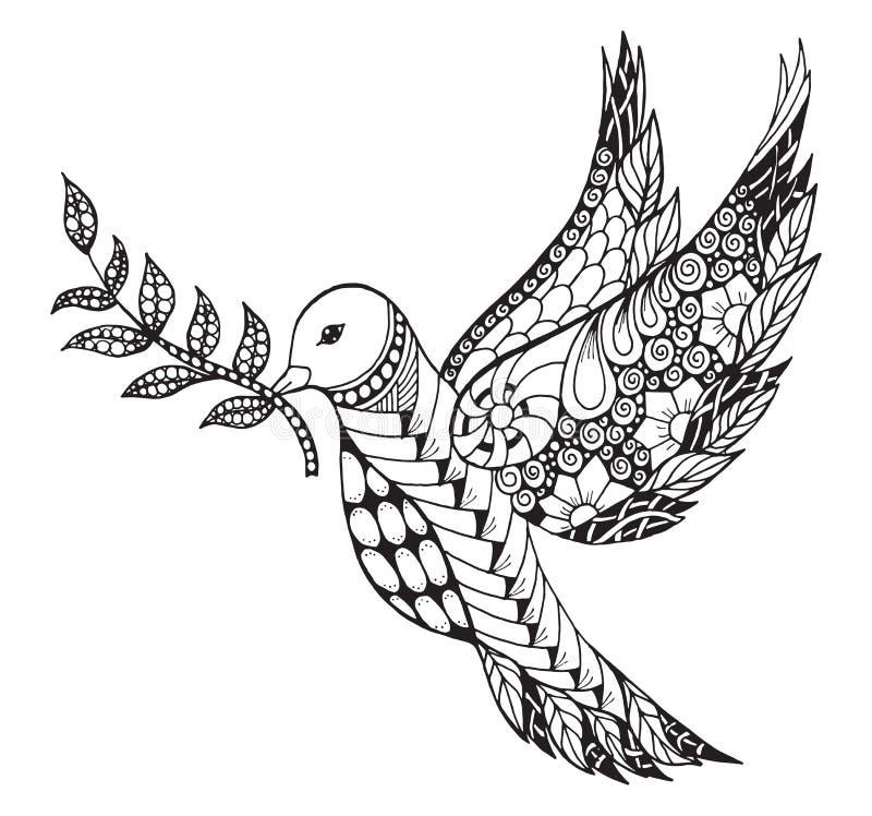 Zentangle a stylisé la colombe de paix avec la branche d'olivier pour Internationa illustration de vecteur