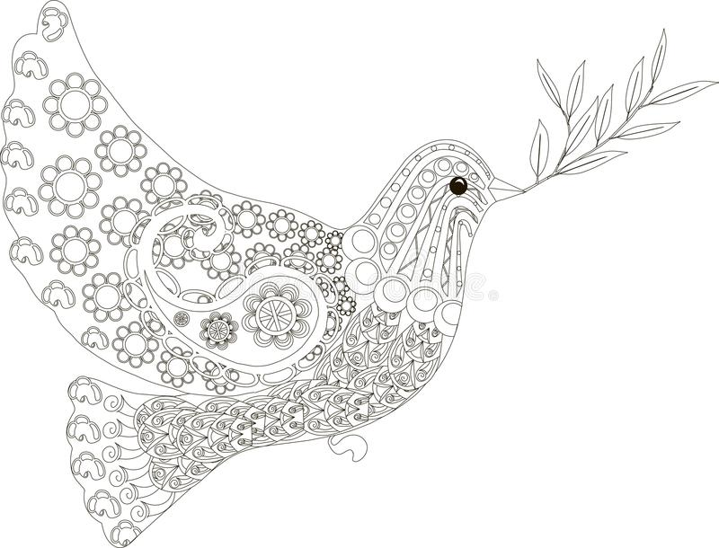 Zentangle a stylisé la colombe de tiré par la main noir et blanc de paix, vecteur illustration stock