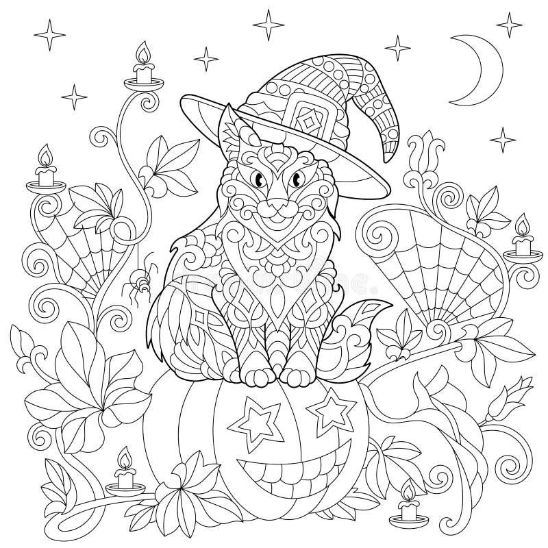 Zentangle a stylisé la page de coloration de Halloween illustration de vecteur