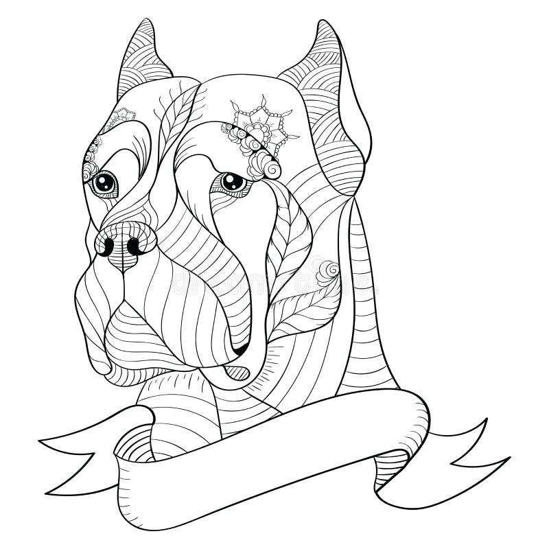 Zentangle a stylisé la tête du corso italien de canne de mastiff Vecteur, I illustration stock