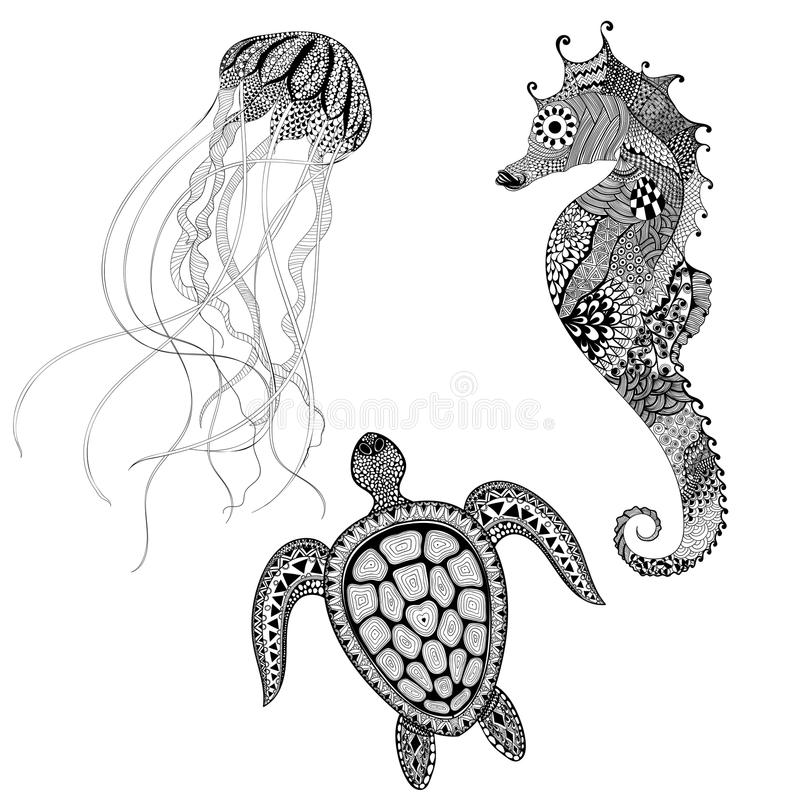 Zentangle a stylisé la tortue, l'hippocampe et les méduses noirs Main d illustration stock