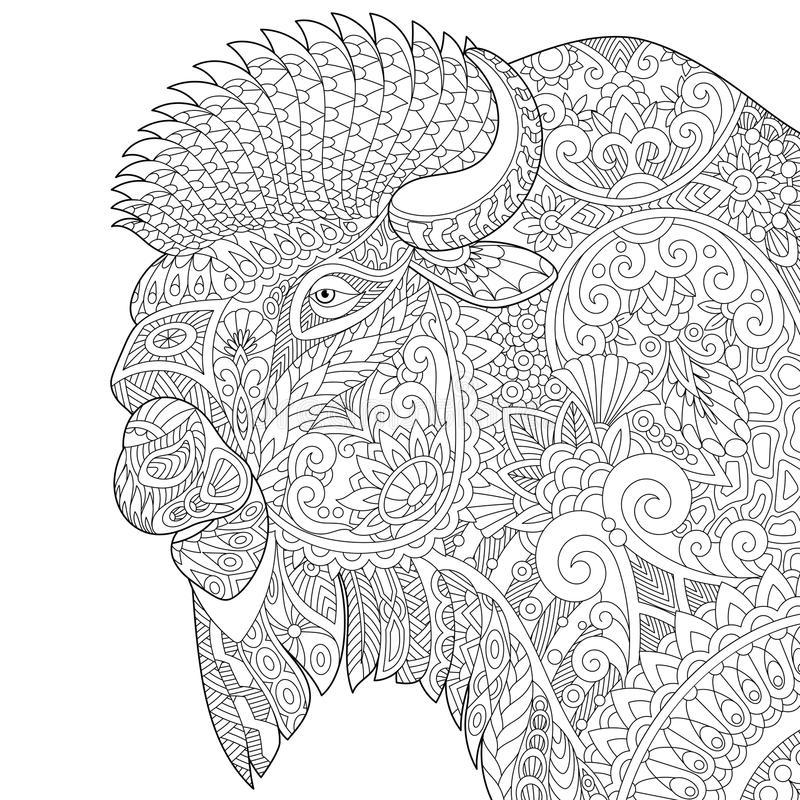 Zentangle a stylisé le buffle illustration de vecteur