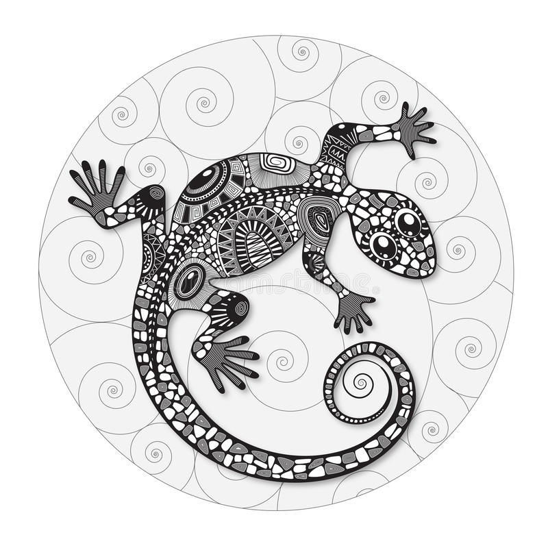 Zentangle a stylisé le dessin d'un lézard illustration de vecteur